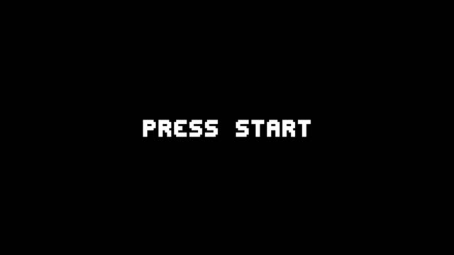 復古視頻遊戲 press 開始文本電腦 hud 全息毛刺干擾雜訊螢幕動畫無縫迴圈 - 部分 個影片檔及 b 捲影像