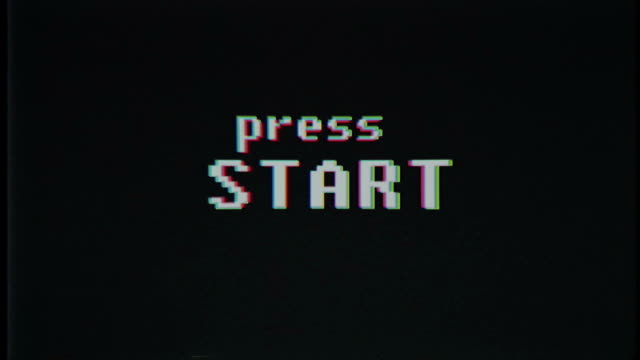 retro videogame press start text on old tv glitch interference screen ... New quality universal vintage motion dynamic animated background colorful joyful cool video footage video