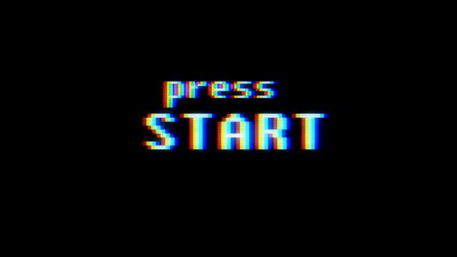 Retro video oyunu basın Başlat metin eski tv arıza müdahale ekranda... Yeni kalite evrensel vintage hareket dinamik animasyonlu arka plan renkli neşeli serin video görüntüleri video