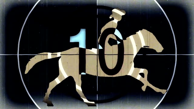retro vintage black countdown with cartoon horseman cowboy upon running horse seamless endless loop new quality unique handmade animation dynamic joyful video footage - rodeo stock videos and b-roll footage