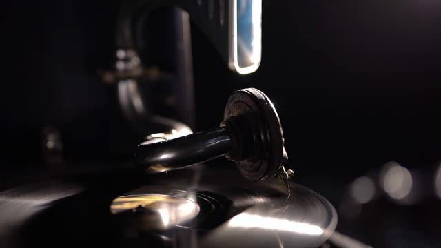 Retro vintage vinyl player. dark intimate background. - video