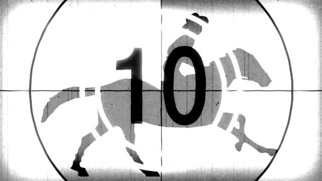 retro vintage white countdown with cartoon horseman cowboy upon running horse seamless endless loop new quality unique handmade animation dynamic joyful video footage video