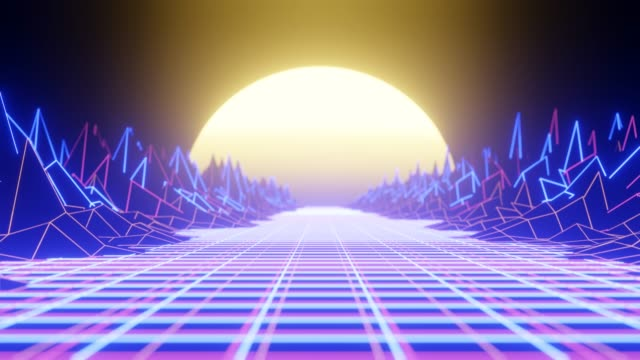 Video Retro Wave animation with sun, space, mountains and laser grid on terrain. 4k loop abstract background.