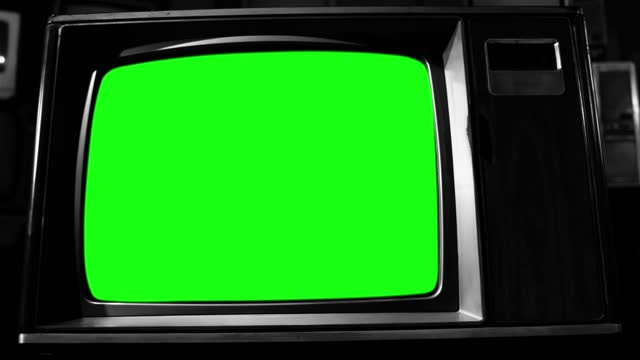 Retro Wood Style TV Set with Green Screen. Dolly In. BW Tone.
