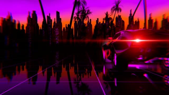 retro-futuristic 80s style car - побережье мексиканского залива сша стоковые видео и кадры b-roll