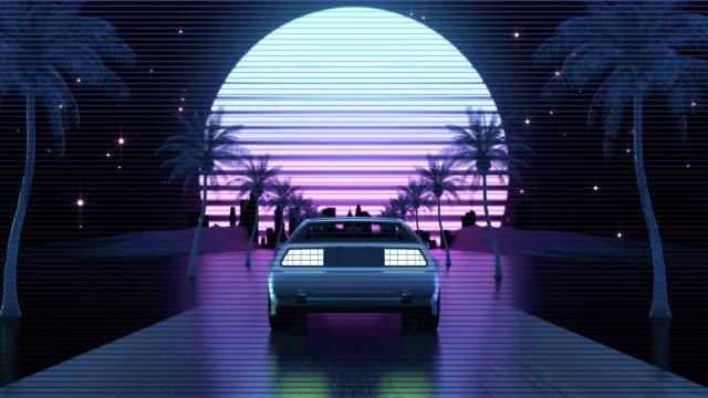 Retro-futuristic 80s style Car Retro-futuristic 80s style Car car videos stock videos & royalty-free footage