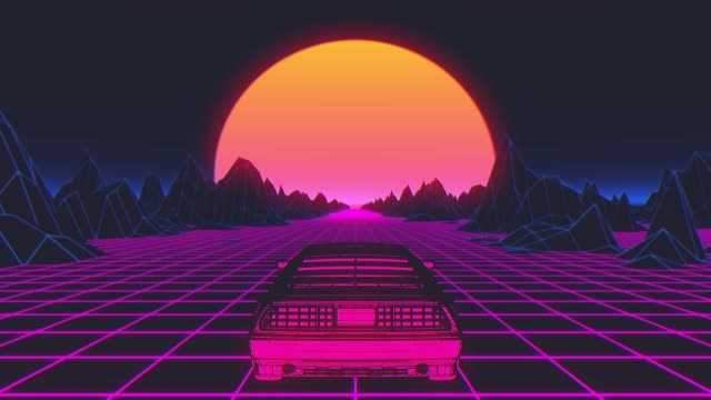 Retro-futuristic 80s style sci-Fi car background. Seamless loop 3D video animation