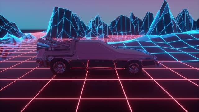 Retro-futuristic 80s style sci-Fi car background. Seamless loop 3D video animation Retro-futuristic 80s style sci-Fi car background. Seamless loop 3D video animation. car videos stock videos & royalty-free footage