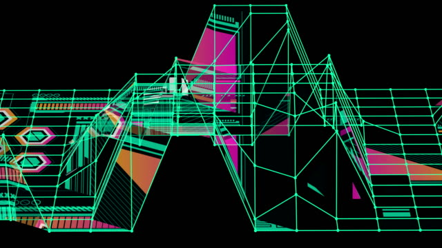 vídeos de stock e filmes b-roll de a retro-style scene with a green grid - bit código binário