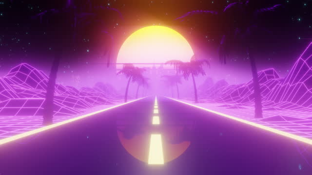 Retrowave Road and Wireframe Landscape at Sunset