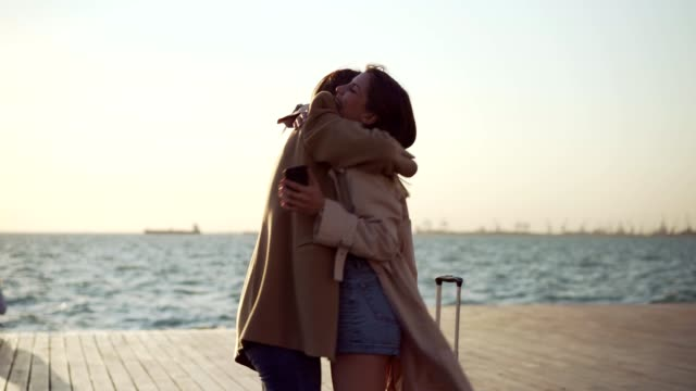reunion with a best friend - reunion stock videos & royalty-free footage