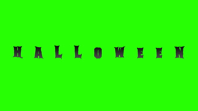 reveal halloween animation text word with flock of bats animals on chroma key green screen background and alpha channel, scary horror fun holiday video