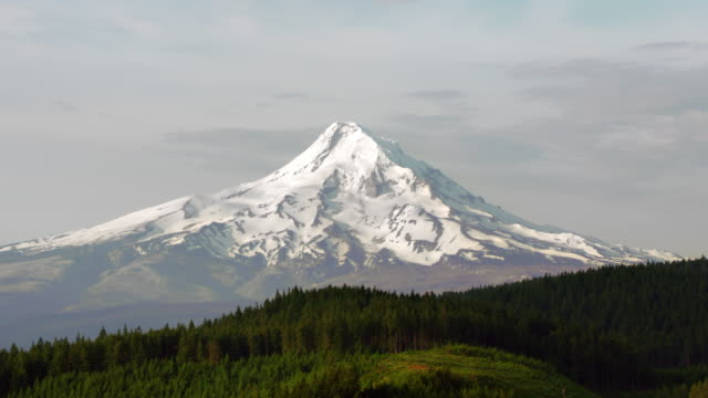 AERIAL Revealing Mt. Hood covered in snow video