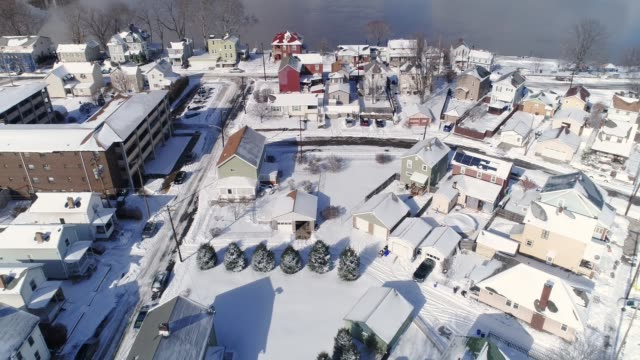 Reverse Aerial Winter View of Rust Belt Neighborhood and Ohio River video