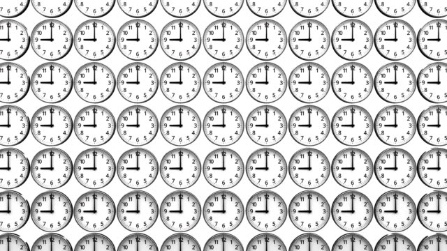 Reverse Clocks On White Background - Vidéo
