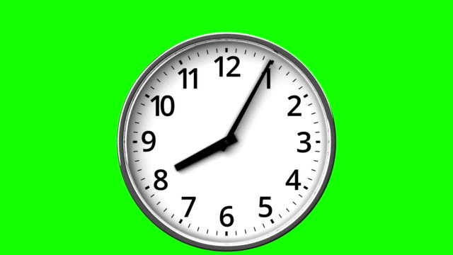 Reverse Rotation Clock On Green Chroma Key 3DCG render Abstract Animation. wall clock stock videos & royalty-free footage