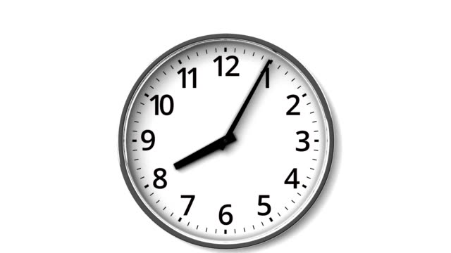 Reverse Rotation Clock On White Wall Zoom View. wall clock stock videos & royalty-free footage