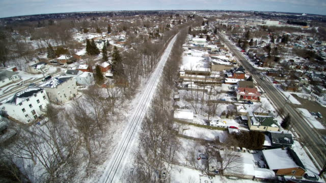 Reverse Track over an old Neighborhood in winter