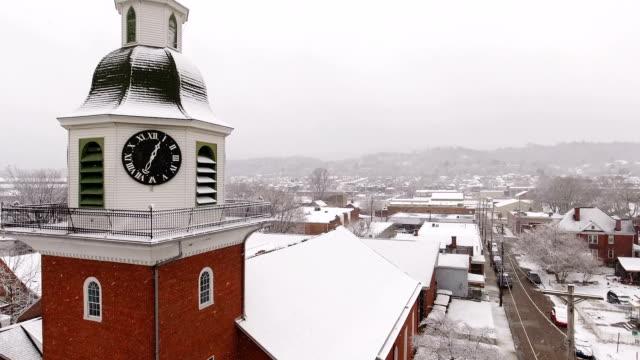 Reverse Winter Aerial Establishing Shot of St. John's Lutheran Church video