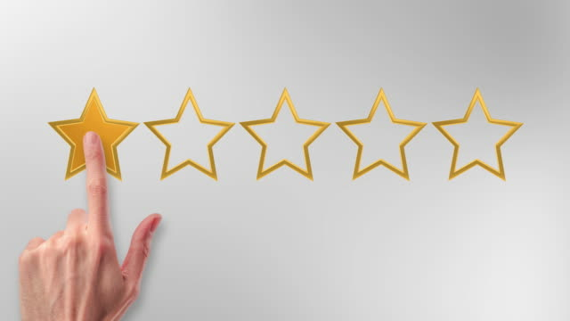 Reviewing and choosing stars. Review and avaluation concept; video animation of a hand picking one star for poor evaluation for a service or product. survey icon stock videos & royalty-free footage