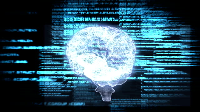 Revolving brain graphic with interface animation video