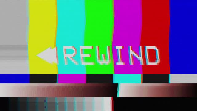 vidéos et rushes de rembobiner. vintage vhs défauts de bruit et d'artefacts effet. glitches d'une vieille cassette. - se reposer