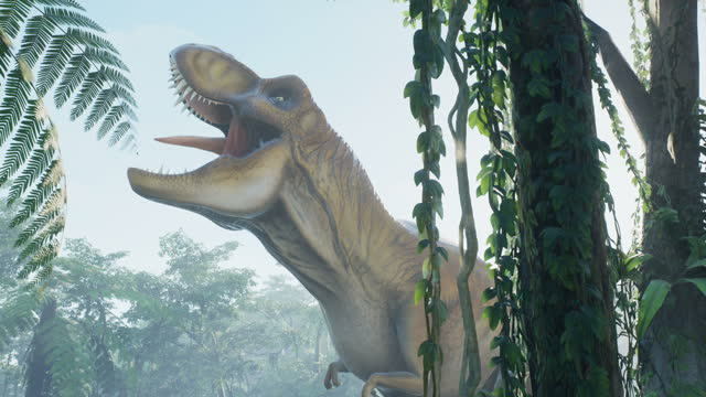 T Rex Tyrannosaurus dinosaur in the morning foggy prehistoric jungle. View of the green prehistoric forest in the jungle on a sunny morning.