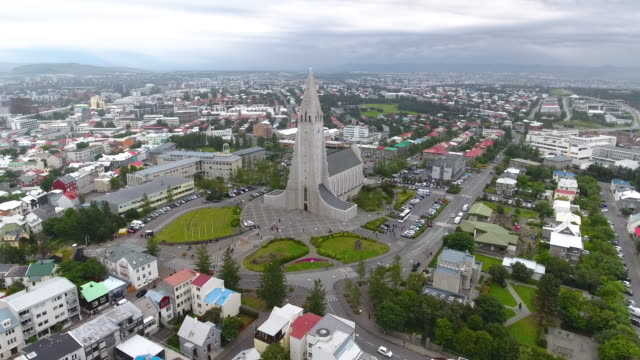 Reykjavik aericl view Reykjavik aericl view church architecture stock videos & royalty-free footage