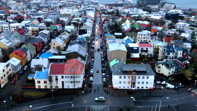 Reykjavik downtown aerial, Iceland in winter time video