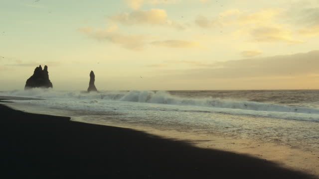 Reynisfjara beach - black sand beach near Vik, Iceland video