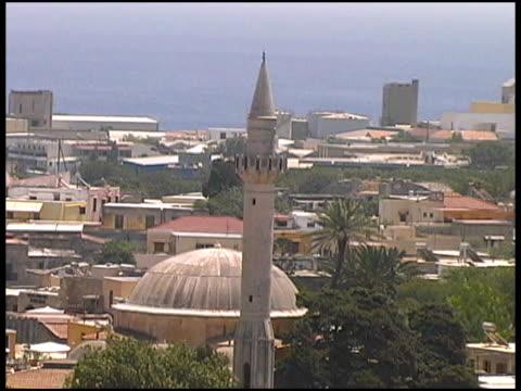 rhodes, greece: islamic mosque minaret and cityscape - egeiska havet bildbanksvideor och videomaterial från bakom kulisserna