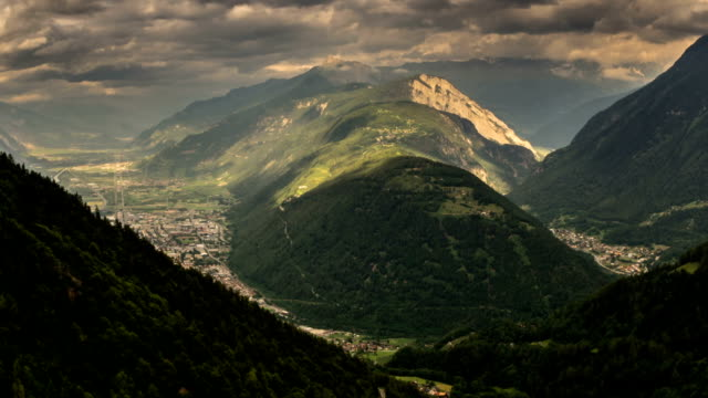 Rhone Alps valley cities and forest rain storm time lapse video