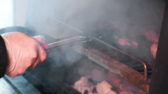 Ribs on barbecue grill video