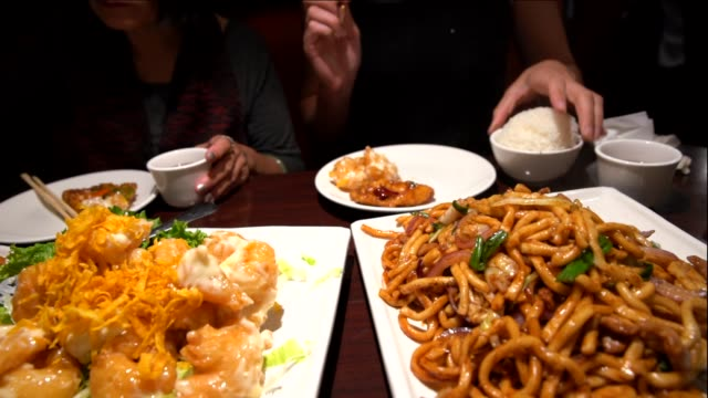 rice and dishes being served to a group at a Chinese restaurant video