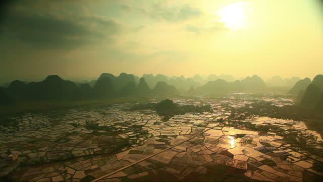 Rice fields at sunset,yangshuo video