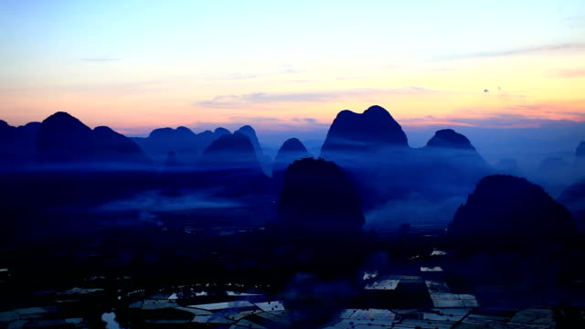 Rice fields at sunset,yangshuo,guilin,china video