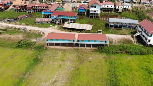 Rice fields from above on a windy day revealing traditionnal school painted blue video