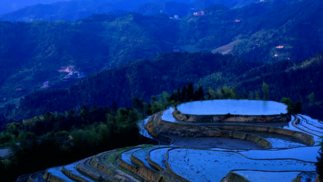 Rice terraces zoom out on high mountains 4K Video video