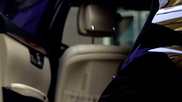 reicher geschäftsmann ins auto, persönlicher fahrer schließenden tür auto, vip - billionär stock-videos und b-roll-filmmaterial