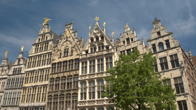 CLOSE UP: Rich golden ornamentation on monumental buildings at Grote markt video