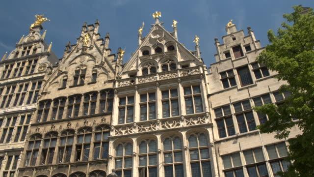 CLOSE UP: Rich golden renaissance decorated buildings at Grote markt, Antwerp video