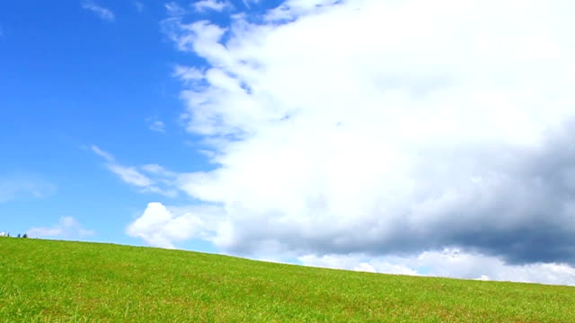 Rich view Green mountains and blue sky with clouds grass area stock videos & royalty-free footage