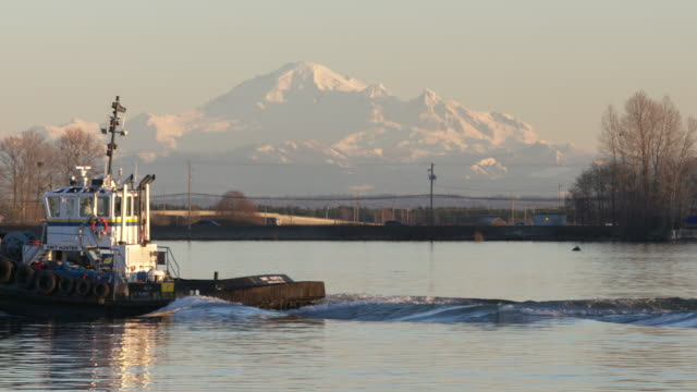 Video Richmond, British Columbia, Canada – January 11, 2017. Smit Hunter Tugboat and Mt Baker.