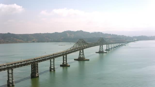AERIAL Richmond-San Rafael Bridge in sunshine