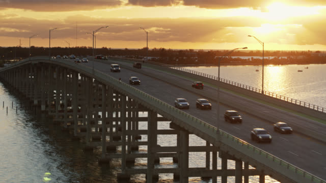 Rickenbacker Causeway and Viriginia Key, Miami at Sunrise - Aerial video