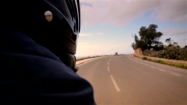 Ride on motorcycle,passenger's point of view video