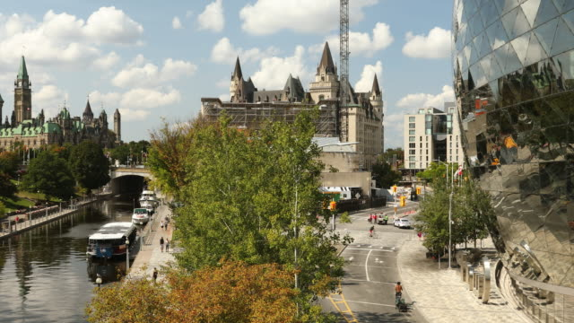 Rideau Canal by Parliament Hill in Ottawa Ontario Canada Rideau Canal and Parliament Buildings in downtown Ottawa Canada ontario canada stock videos & royalty-free footage