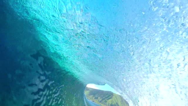 FPV SLOW MOTION: Rider surfing big tube barrel wave video