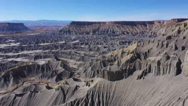 Ridges And Gorges Of Many Mountains Of Steel Gray Sandstone In Canyon Butte