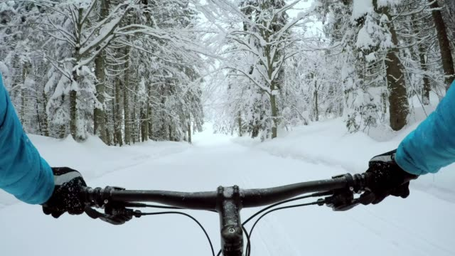 POV Riding a fat bike through snow Point of view shot of a person fat biking in snow. Shot in Slovenia. handlebar stock videos & royalty-free footage